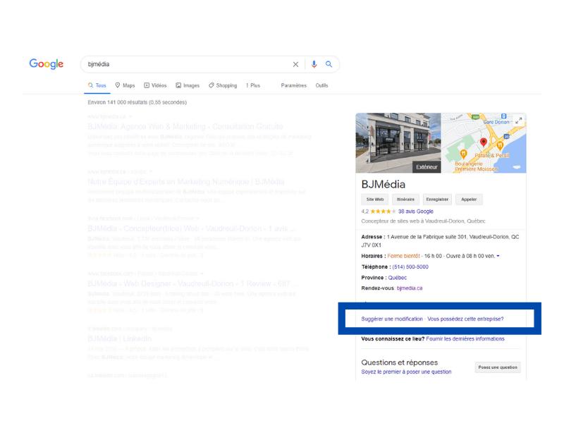 Google My Business Suggérer une modification